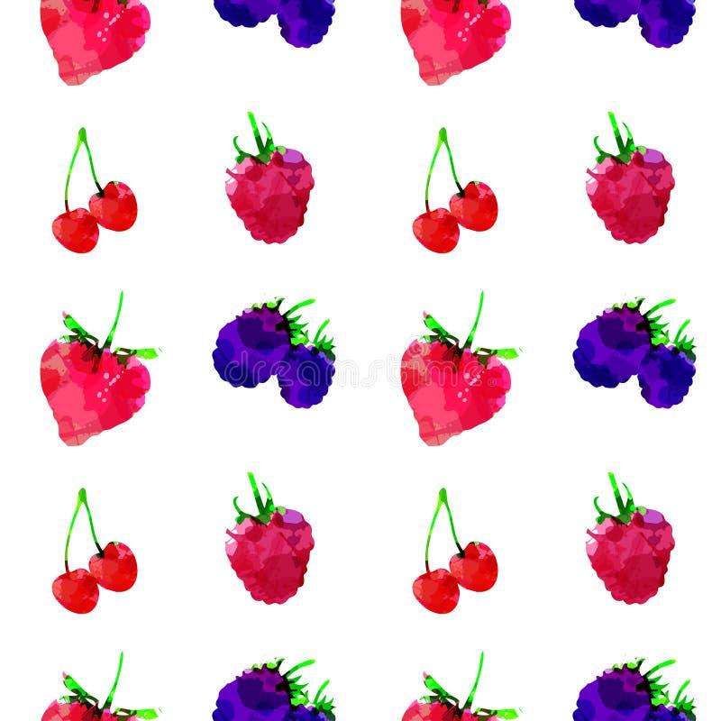 Teste padrão sem emenda com morango, framboesa, amora-preta, cereja, baga com manchas e manchas em um fundo branco Arte da aquare ilustração stock