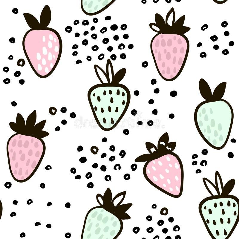 Teste padrão sem emenda com a morango tirada mão Fundo criançola minimalistic bonito Ilustração do vetor ilustração do vetor