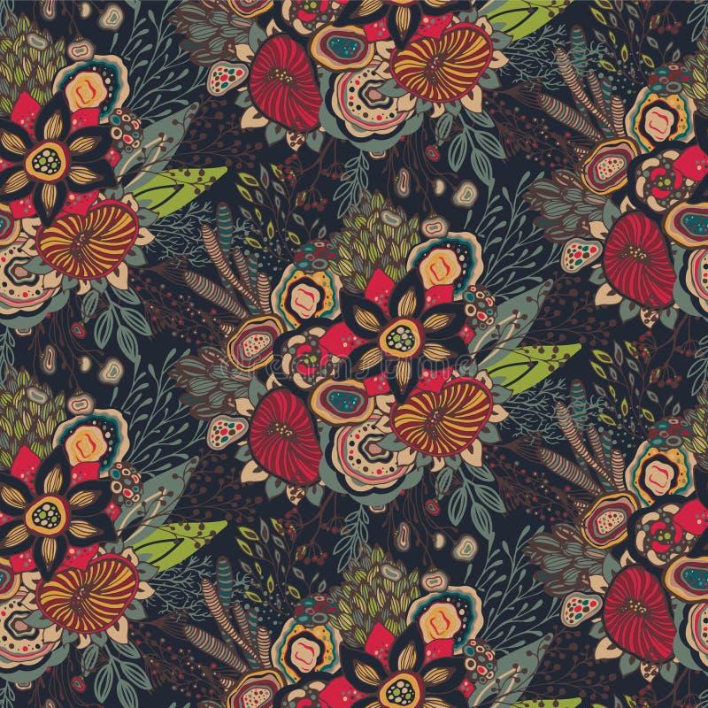 Teste padrão sem emenda com motivo floral tirado mão da fantasia ilustração stock