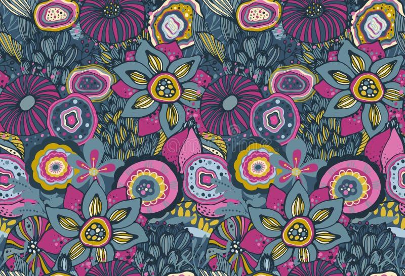 Teste padrão sem emenda com motivo floral tirado mão da fantasia ilustração royalty free