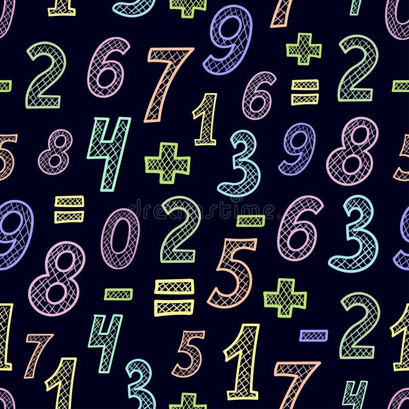 Teste padrão sem emenda com números coloridos ilustração do vetor