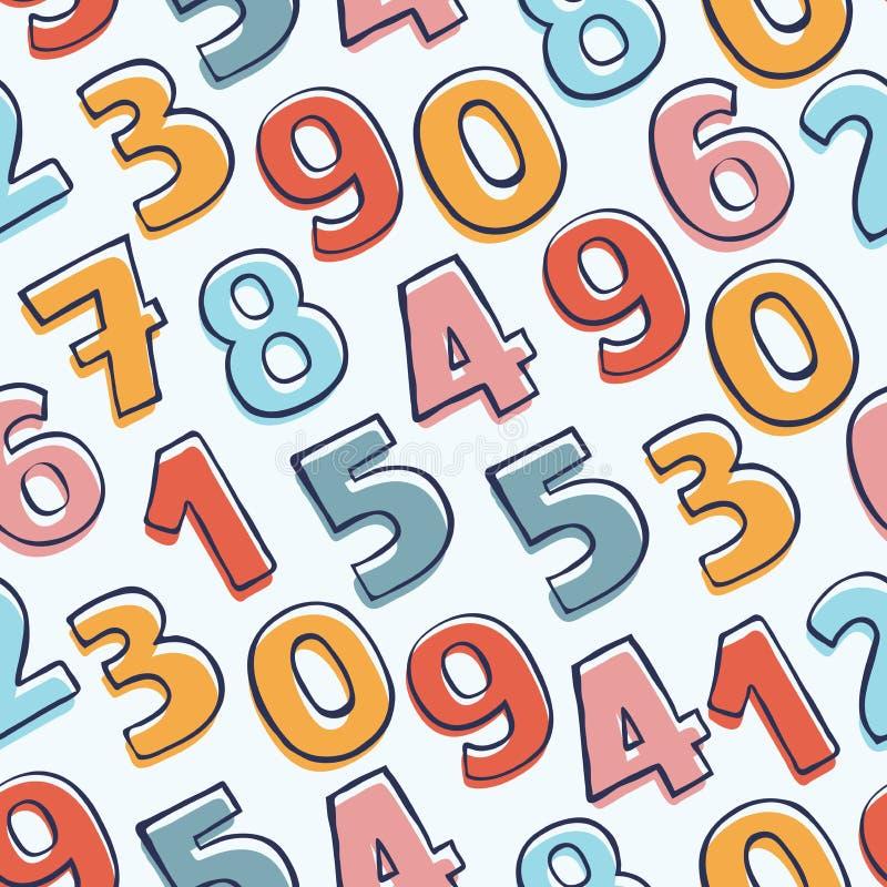 Teste padrão sem emenda com números coloridos da garatuja Fundo desenhado mão do vetor ilustração stock