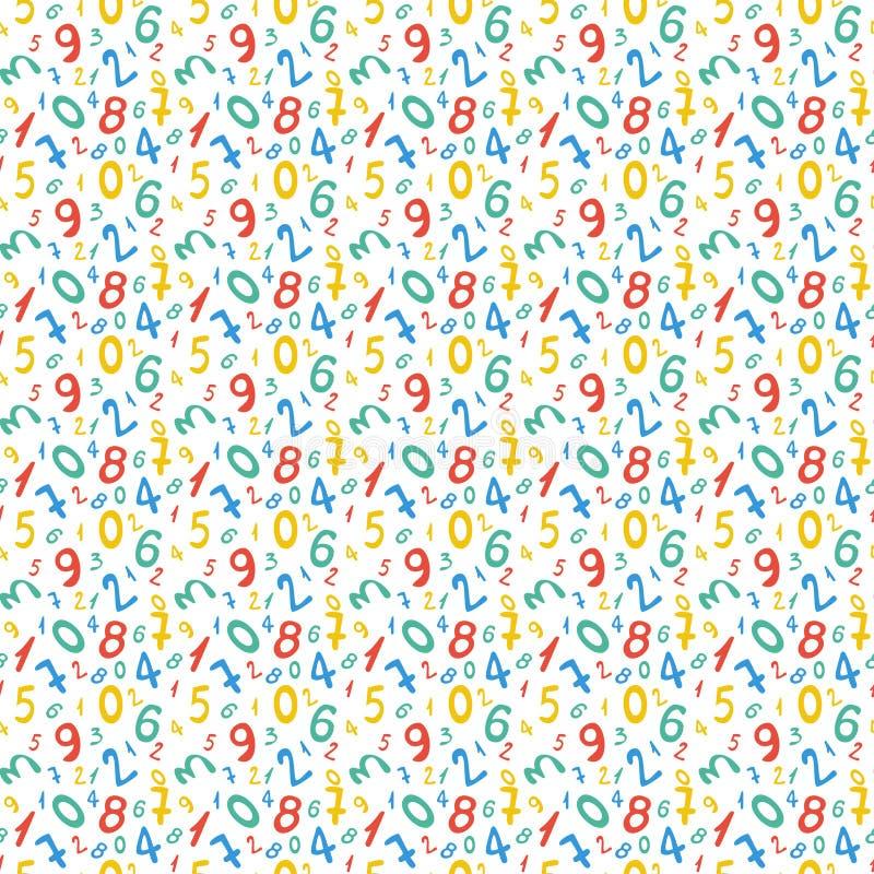 Teste padrão sem emenda com números para o projeto da escola ilustração royalty free