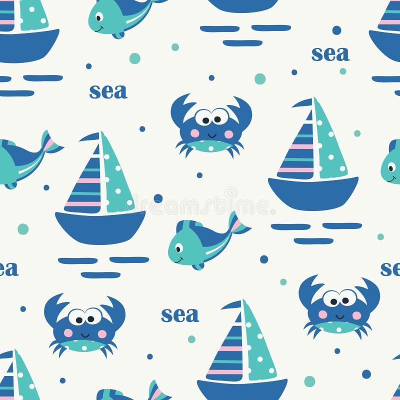 Teste padrão sem emenda com navio, peixes e caranguejos de navigação ilustração stock
