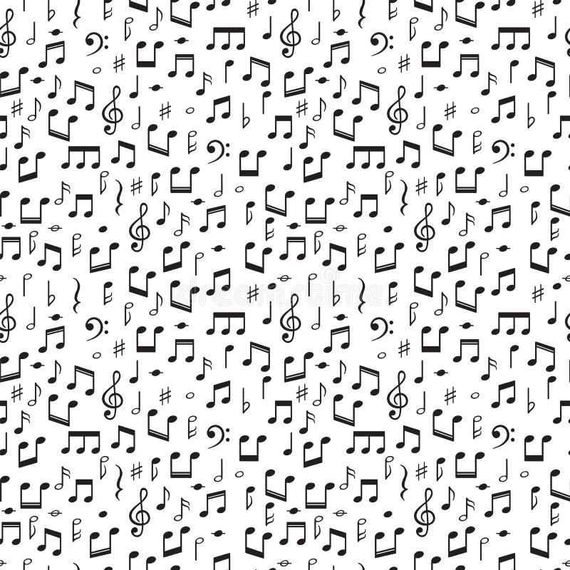 Teste padrão sem emenda com notas da música Fundo tirado mão com símbolos de música ilustração royalty free