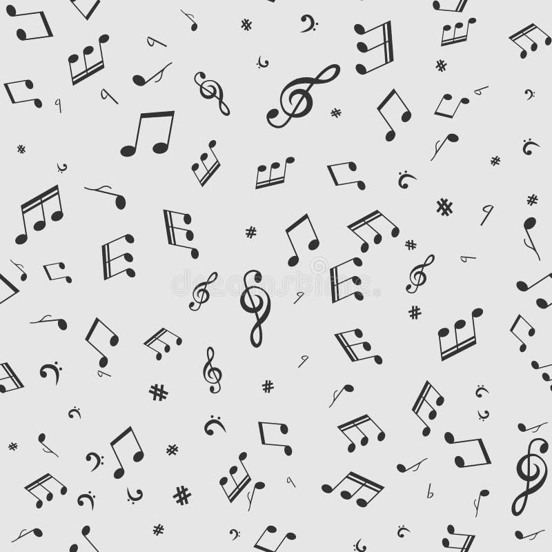 Teste padrão sem emenda com notas do preto da música no fundo branco ilustração royalty free