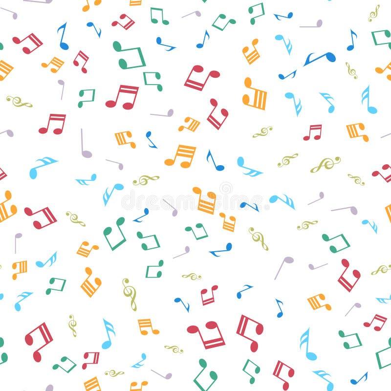 Teste padrão sem emenda com notas musicais coloridas Vetor ilustração stock