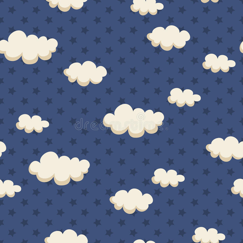 Teste padrão sem emenda com nuvens e estrelas ilustração stock