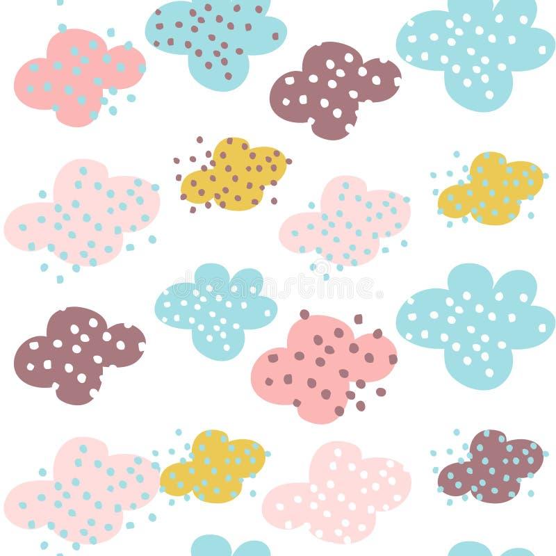 Teste padrão sem emenda com nuvens e formas tiradas mão Fundo criançola criativo para a tela, matéria têxtil ilustração royalty free