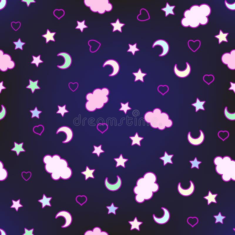 Teste padrão sem emenda com nuvens, lua, estrelas, e na garatuja ilustração stock