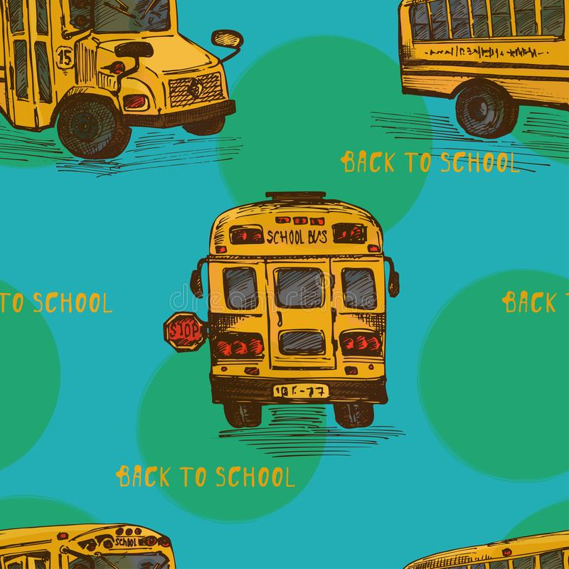 Teste padrão sem emenda com o ônibus amarelo do esboço desenhado à mão, fundo isolado de volta ao tema da escola, cor do conceito ilustração do vetor