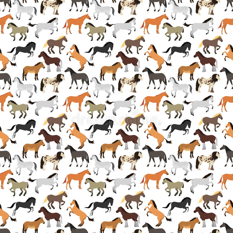 Teste padrão sem emenda com o cavalo no estilo liso ilustração do vetor
