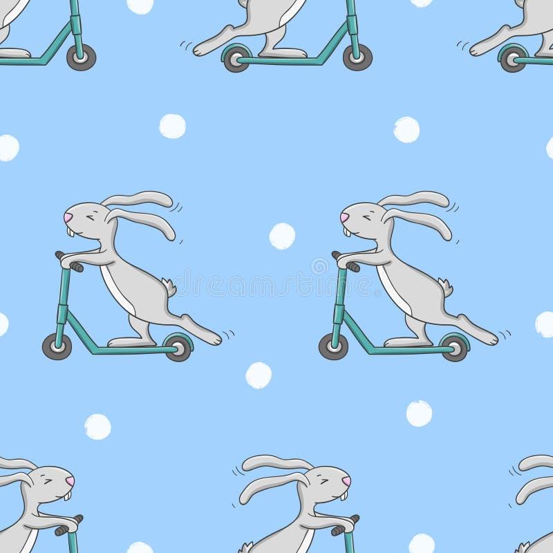 Teste padrão sem emenda com o coelho bonito que monta um 'trotinette' ilustração stock