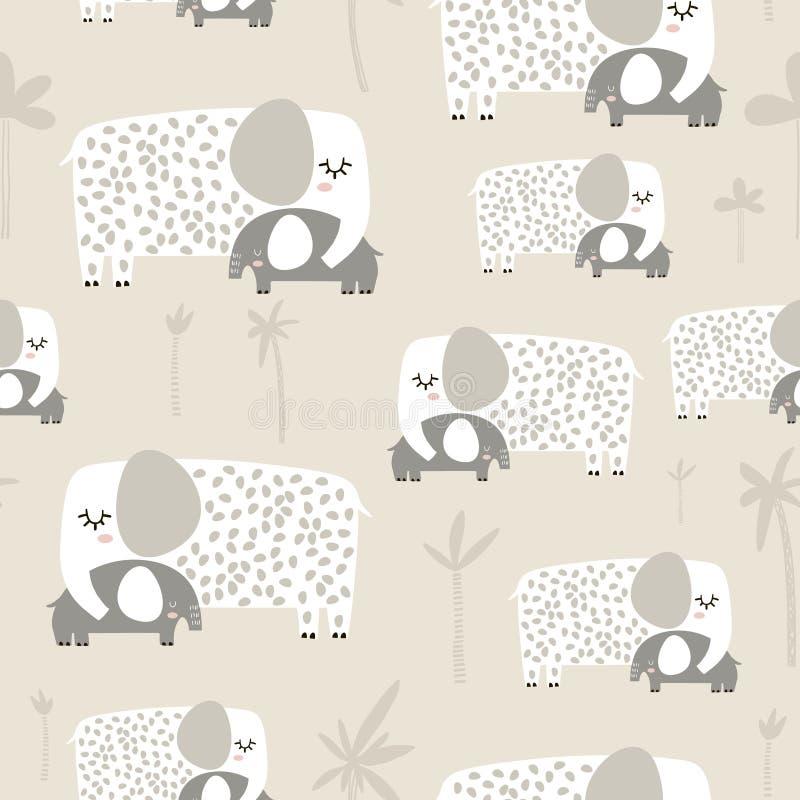 Teste padrão sem emenda com o elefante bonito da mamã e do bebê Textura criançola criativa Grande para a tela, ilustração do veto ilustração do vetor