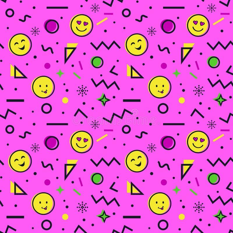 Teste padrão sem emenda com o emoji no estilo de memphis ilustração do vetor