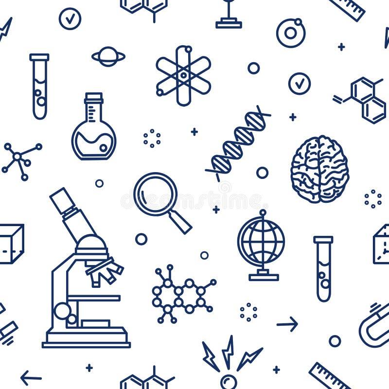 Teste padrão sem emenda com o equipamento de laboratório, atributos da ciência, experiência científica, pesquisa tirado com conto ilustração stock