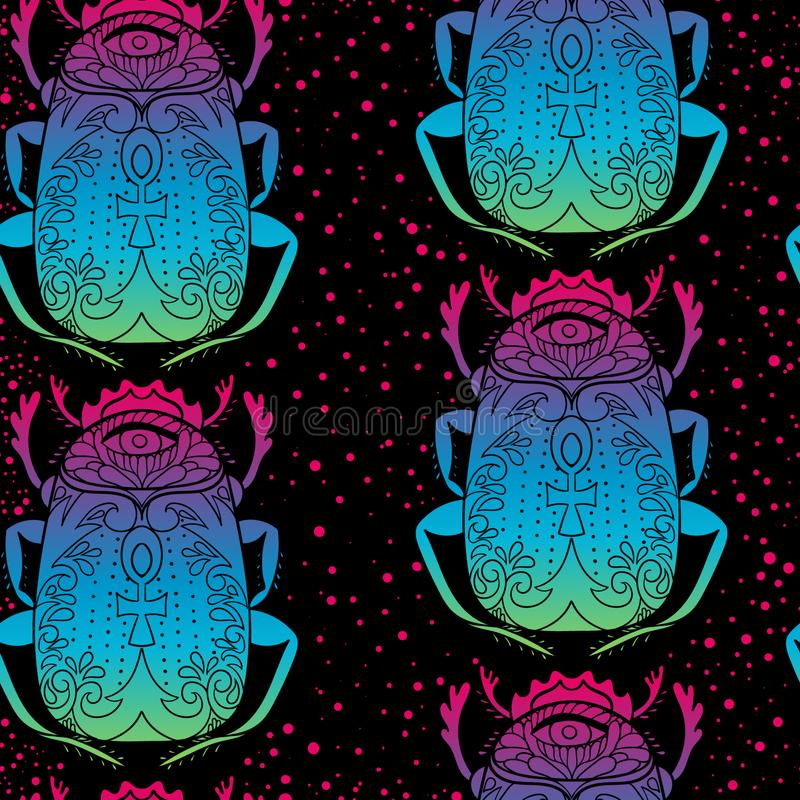 Teste padrão sem emenda com o escaravelho decorativo com cruz egípcia e todo o olho de vista Estilo tirado m?o Rosa, cores azuis, ilustração royalty free