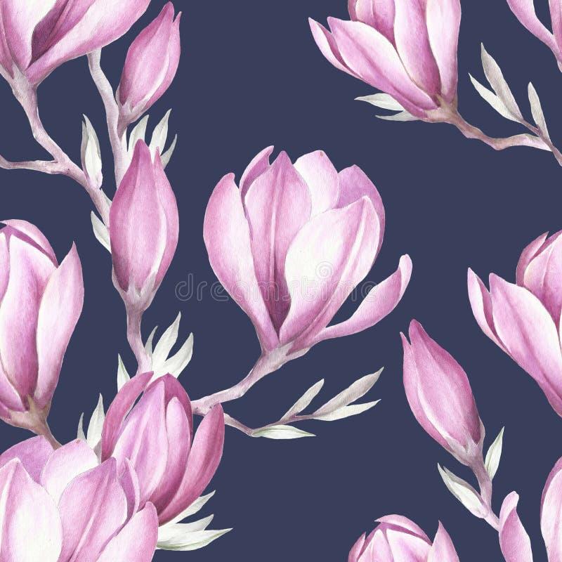 Teste padrão sem emenda com o galho de florescência da magnólia Ilustração da aguarela ilustração royalty free