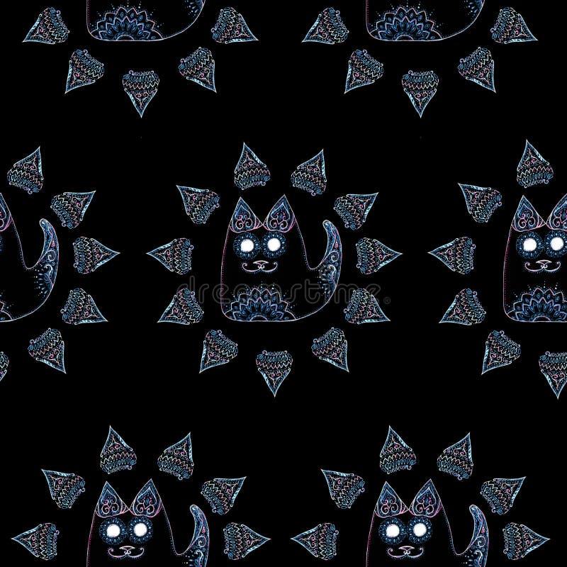Teste padrão sem emenda com o gato no círculo ilustração stock