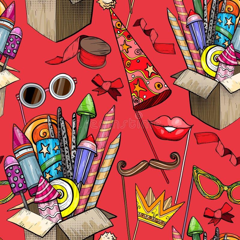 Teste padrão sem emenda com o grande fogo de artifício colorido em acessórios da caixa e do partido de cartão ilustração do vetor