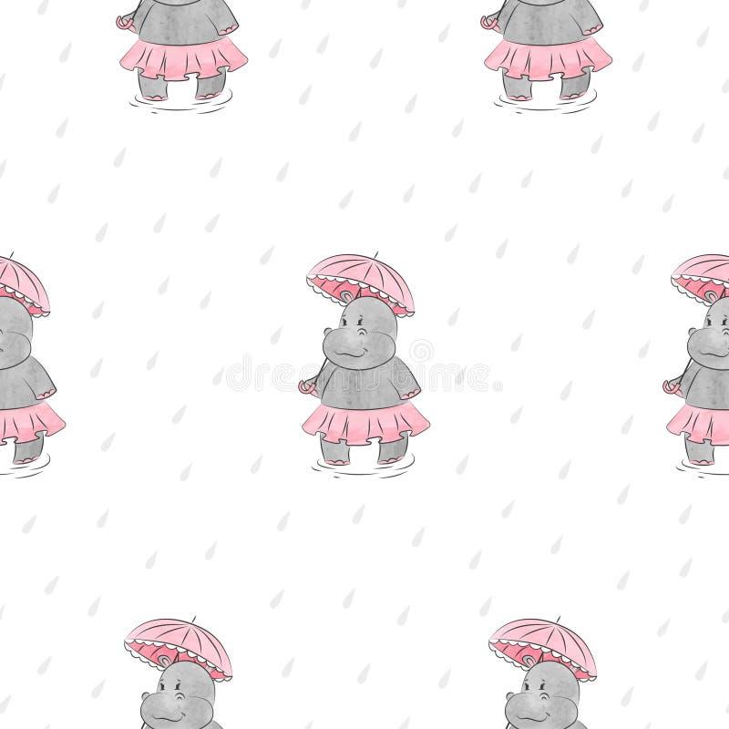 Teste padrão sem emenda com o hipopótamo dos desenhos animados com guarda-chuva ilustração royalty free