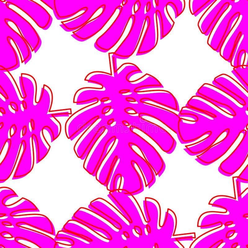 Teste padrão sem emenda com o monstera cor-de-rosa das folhas Plantas tropicais no estilo brilhante de néon ilustração royalty free
