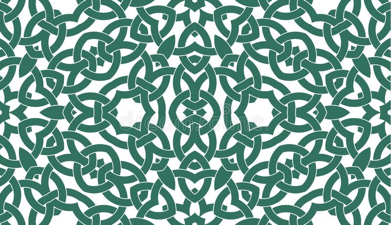 Teste padrão sem emenda com o ornamento celta do nó da cerceta e das máscaras brancas ilustração royalty free