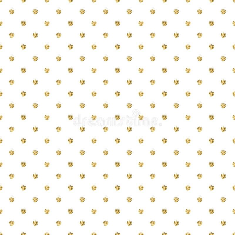 Teste padrão sem emenda com o ornamento do às bolinhas do brilho do ouro no fundo branco ilustração do vetor