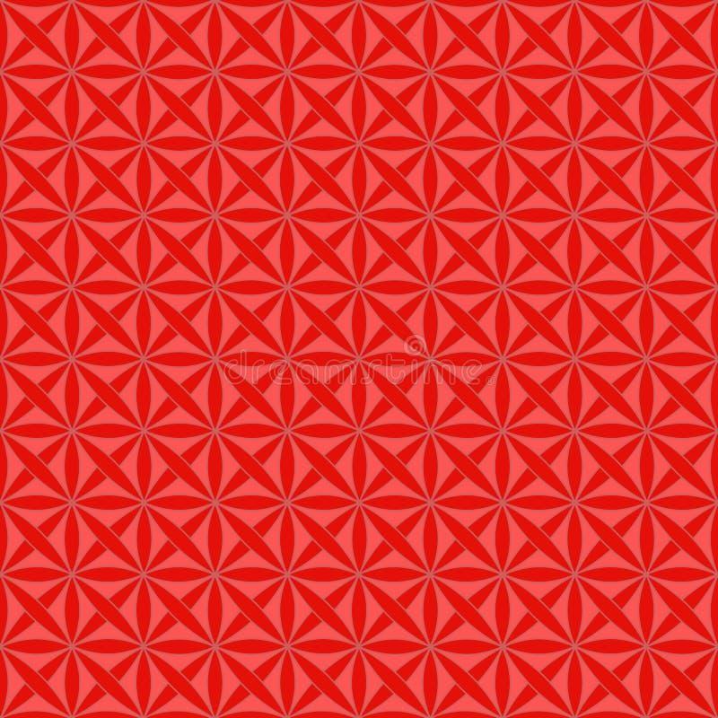 Teste padrão sem emenda com o ornamento geométrico celta estilizado em viver as cores corais e vermelhas, vetor ilustração stock