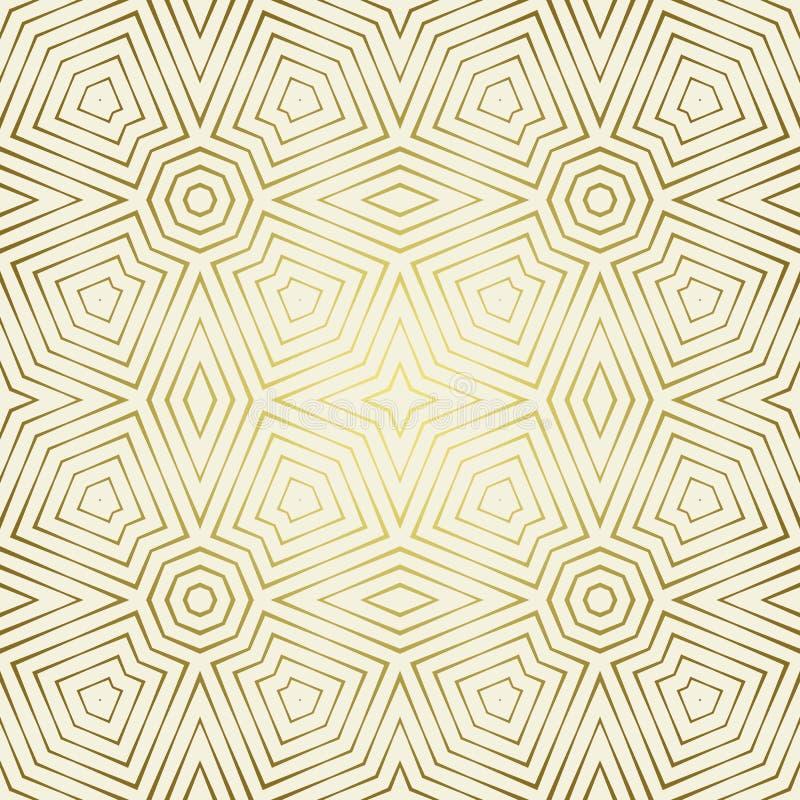 Teste padrão sem emenda com o ornamento geométrico simétrico O sumário ornaments o fundo Papel de parede dourado elegante ilustração royalty free