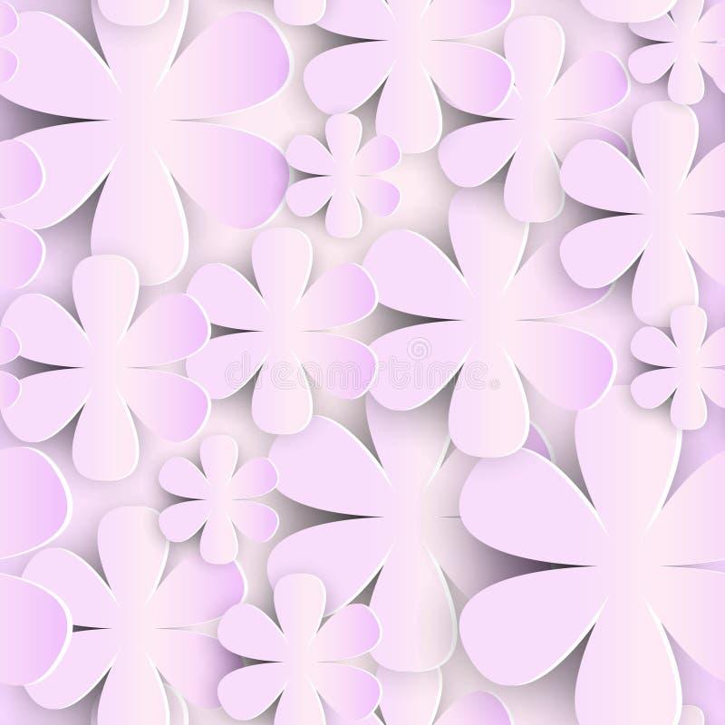 Teste padrão sem emenda com o ornamento romântico bonito do fundo cor-de-rosa das flores 3d de papel ilustração royalty free