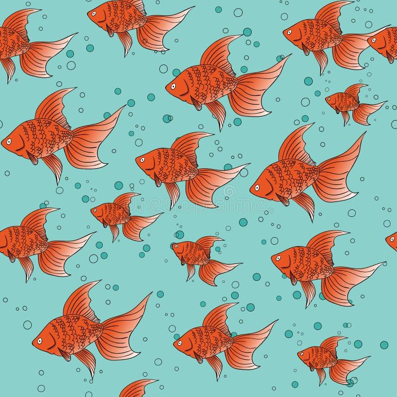 Teste padrão sem emenda com o peixe dourado vermelho no fundo azul com bolhas ilustração stock