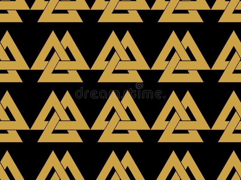 Teste padrão sem emenda com o símbolo do deus Odin Valknut ilustração royalty free
