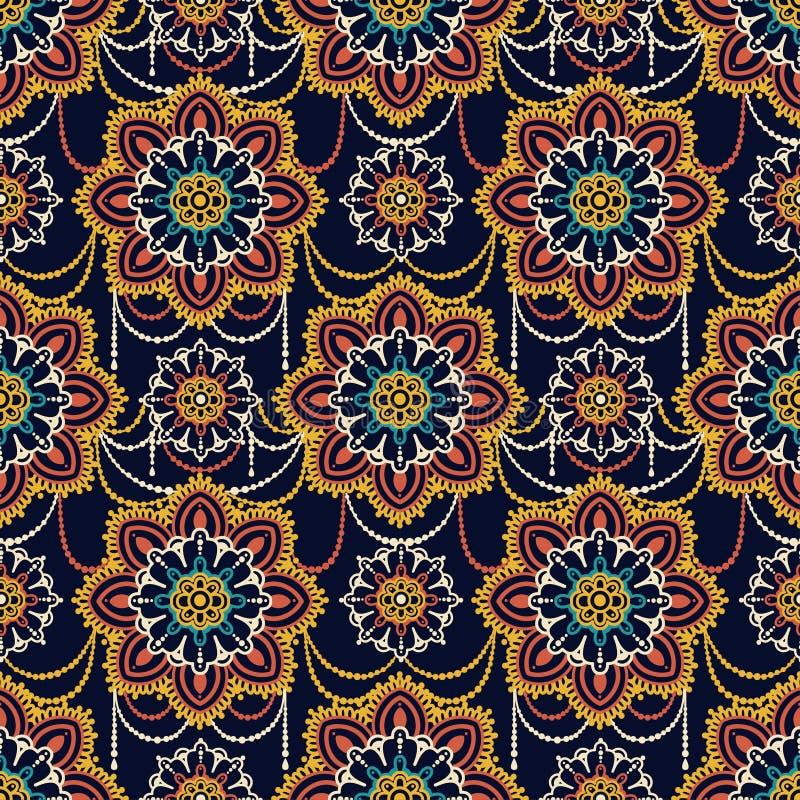 Teste padrão sem emenda com ornamento do madala, joia estilizado ilustração stock