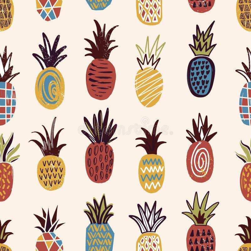 Teste padrão sem emenda com os abacaxis da várias cor e textura no fundo claro Contexto com o maduro tropical exótico ilustração stock