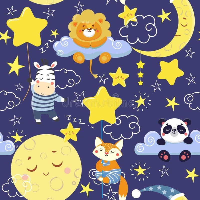 Teste padrão sem emenda com os animais bonitos do sono e as luas, estrelas ilustração do vetor