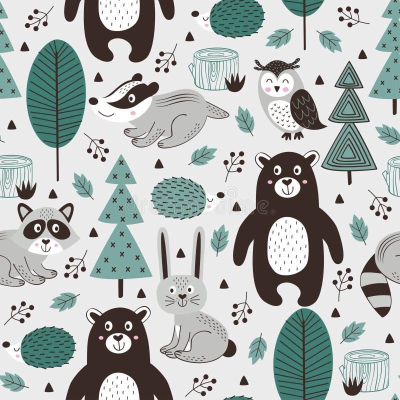 Teste padrão sem emenda com os animais da floresta no estilo cinzento do escandinavo do fundo ilustração royalty free