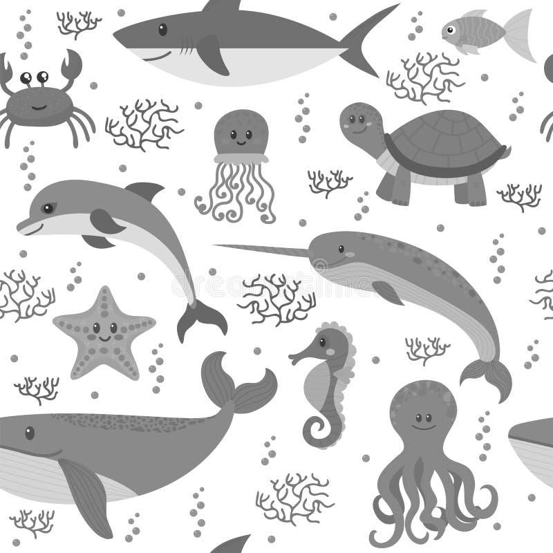 Teste padrão sem emenda com os animais da vida marinha dos desenhos animados Backg subaquático ilustração royalty free