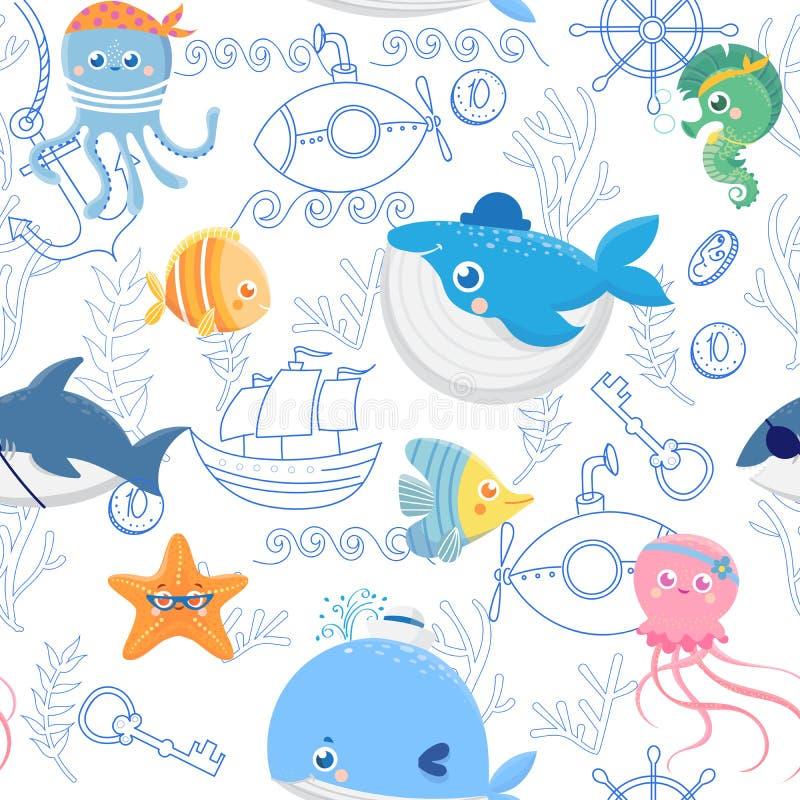 Teste padrão sem emenda com os animais de mar engraçados ilustração royalty free