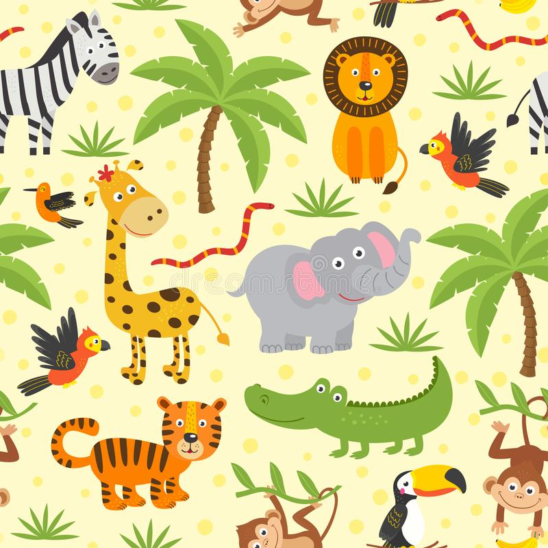 Teste padrão sem emenda com os animais engraçados da selva ilustração stock