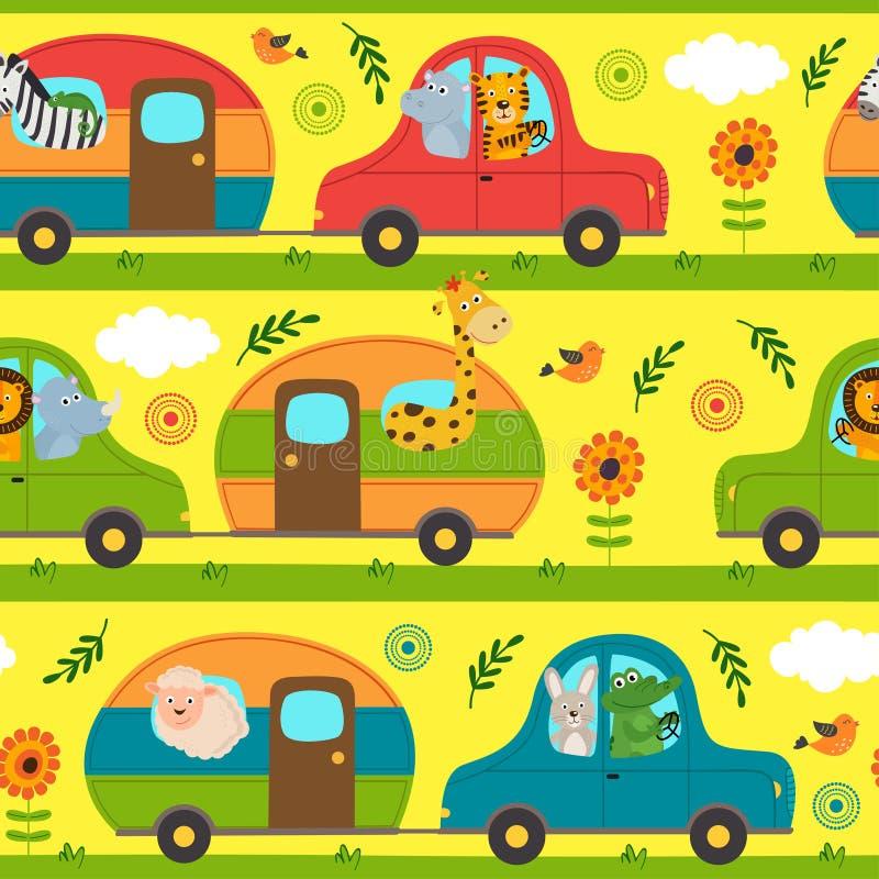 Teste padrão sem emenda com os animais que viajam na casa nas rodas ilustração do vetor