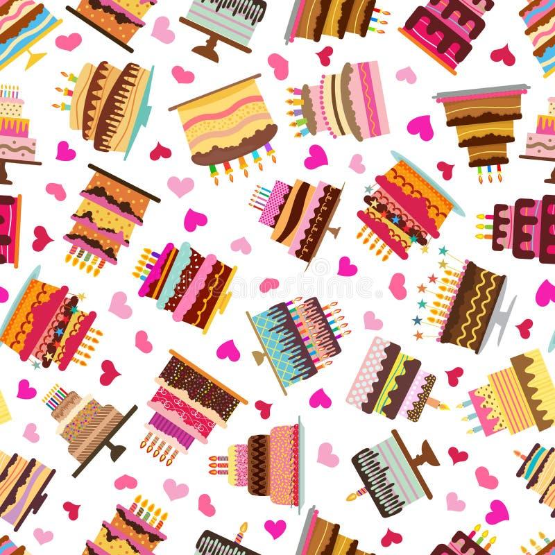 Teste padrão sem emenda com os bolos doces coloridos ilustração royalty free