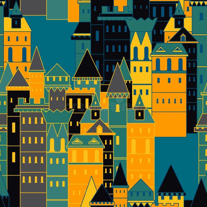 Teste padrão sem emenda com os castelos medievais feericamente Ilustração tirada do vetor do vintage mão colorida ilustração royalty free