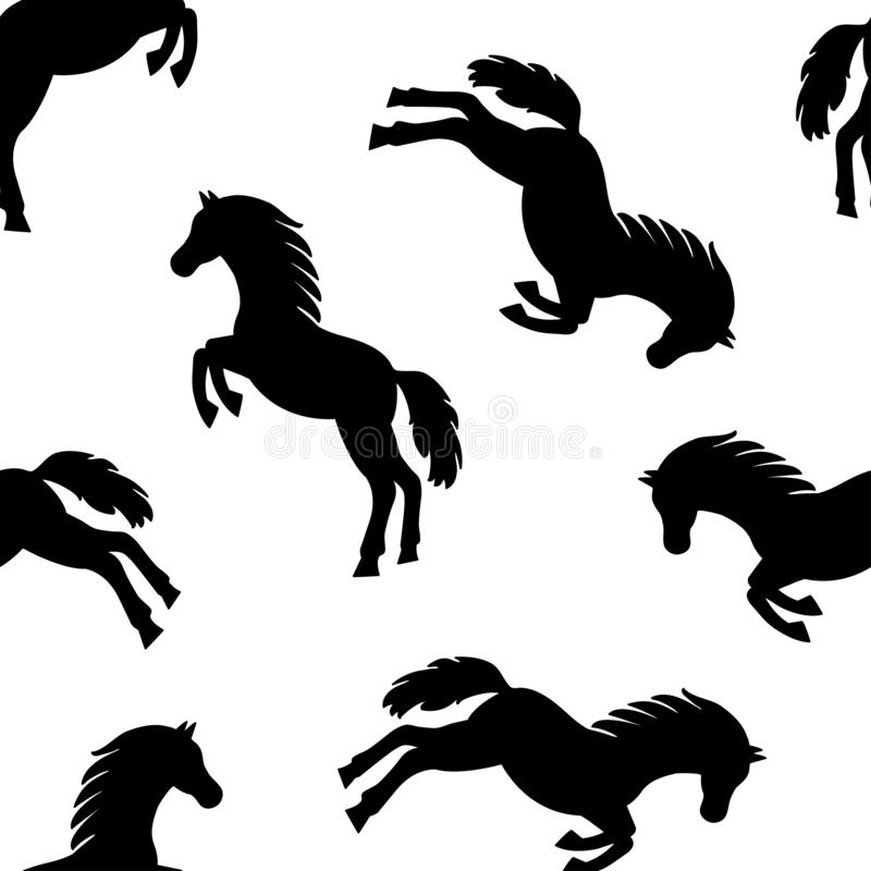 Teste padrão sem emenda com os cavalos pretos isolados no fundo branco Vetor ilustração do vetor