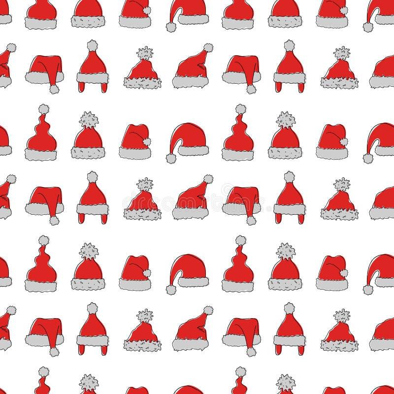 Teste padrão sem emenda com os chapéus tirados mão de Santa Claus ilustração do vetor