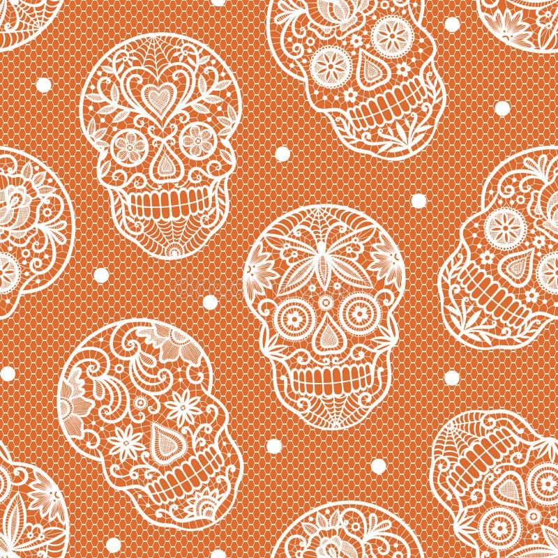 Teste padrão sem emenda com os crânios do açúcar do laço no fundo alaranjado ilustração royalty free