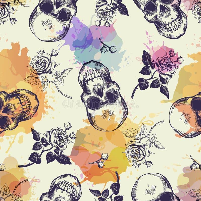Teste padrão sem emenda com os crânios e as flores cor-de-rosa tirados no estilo da gravura e em manchas coloridas translúcidas M ilustração royalty free