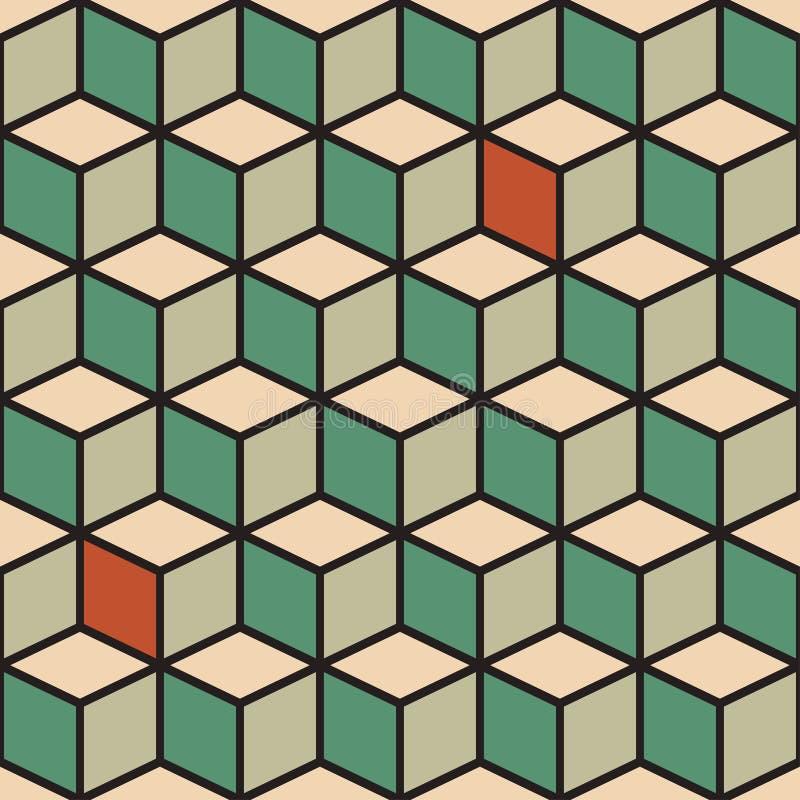 Teste padrão sem emenda com os cubos na cor retro ilustração stock