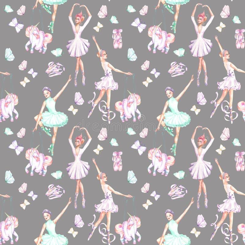 Teste padrão sem emenda com os dançarinos de bailado da aquarela, os unicórnios do fantoche, as borboletas e as sapatas do pointe ilustração royalty free