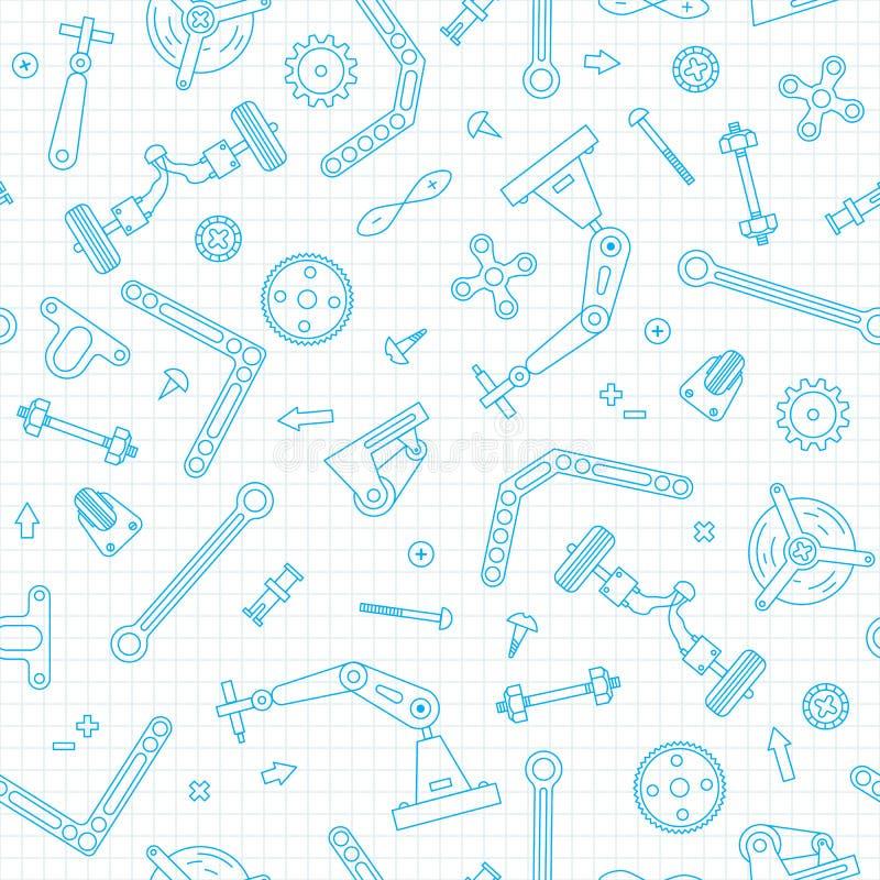 Teste padrão sem emenda com os detalhes e as engrenagens para a robótica da construção Ilustração do vetor ilustração royalty free